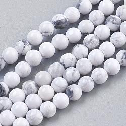 """Chapelets de perles en howlite naturelle, rond, blanc, 4mm, Trou: 1mm, Environ 41 pcs/chapelet, 7.6""""(TURQ-G091-4mm)"""