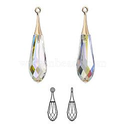 Cristal autrichien et or plaqué, Focal, passions de cristal, Pendentif goutte pure facettes, 6532, 101 _crystal + ab, 44x10mm, Trou: 1.5mm(6532-44mm-101(G))