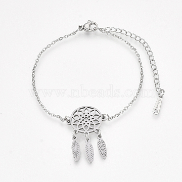 201 Stainless Steel Link Bracelets, with Cable Chains and Lobster Claw Clasps, Woven Net/Web with Feather, Stainless Steel Color, 6-1/8 inches~6-5/8 inches(15.5~16.8cm); 1.5mm(BJEW-T011-JN153-1)
