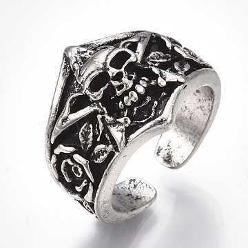 Alloy Cuff Finger Rings, Wide Band Rings, Skull, Antique Silver, US Size 9 3/4(19.5mm)(RJEW-T006-49)