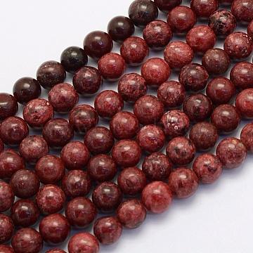 8mm DarkRed Round Crazy Agate Beads