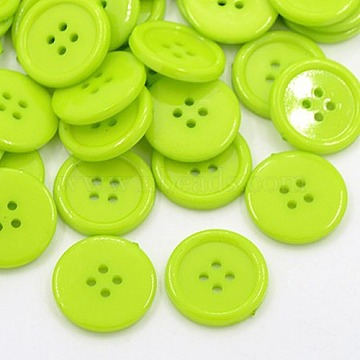 18L(11.5mm) YellowGreen Flat Round Acrylic 4-Hole Button