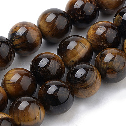 Natural Tiger Eye Beads Strands, Round, 10mm, Hole: 1mm; about 40pcs/strand, 15.7inches