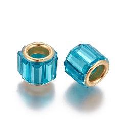 Perles européennes en laiton avec zircone cubique, Perles avec un grand trou   , colonne, or, bleu foncé, 10x8mm, Trou: 5mm(KK-E772-01F)