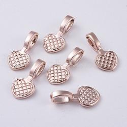 colle sur l'alliage bails coussin plat, cœur, or rose, 20x10x6 mm, trou: 4x6 mm(PALLOY-J218-103RG)