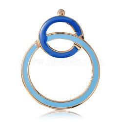 Pendentifs d'émail en fer plaqué or clair, deux grands pendentifs anneaux, bleu ciel, 63x48x2mm, Trou: 2mm(IFIN-J056-05KCG)