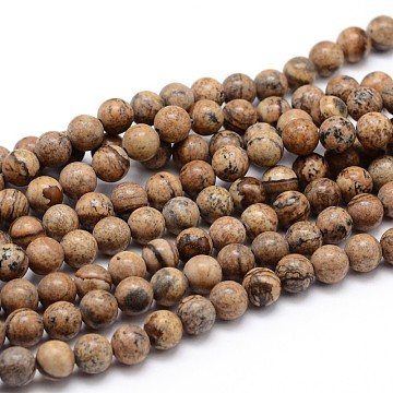 Natural Picture Jasper Round Bead Strands, 12mm, Hole: 1mm; about 35pcs/strand, 16 inches(G-J303-08-12mm)