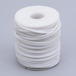 Tuyau creux corde en caoutchouc synthétique tubulaire pvc, enroulé aurond de plastique blanc bobine, blanc, 3mm, trou: 1.5 mm; environ 25 m / rouleau(RCOR-R007-3mm-08)