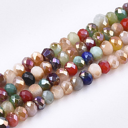 NBEADS 30 Strands AB Color Plated Faceted Abacus Clear Electroplate Glass Bead Strands with 4x3mm,Hole:1mm,About 149pcs//strand
