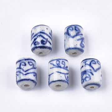 Handmade Porcelain Beads, Blue and White Porcelain, Column, Blue, 13.5x9.5mm, Hole: 1.5mm(X-PORC-S498-64)