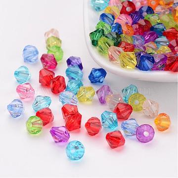 Mixed Color Chunky Dyed Transparent Acrylic Faceted Bicone Spacer Beads for Kids Jewelry, 6mm in diameter, hole: 1mm(X-DBB6mm)