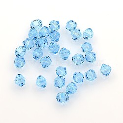 Austrian Crystal Beads, 5301 4mm, Bicone, aquamarine, Size: about 4mm long, 4mm wide, Hole: 1mm(X-5301_4mm202)