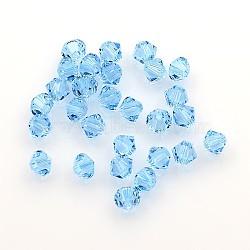 perles de cristal autrichien, 5301 4 mm, Toupie, aigue-marine, taille: environ 4 mm de long, 4 mm de large, trou: 1 mm(X-5301_4mm202)