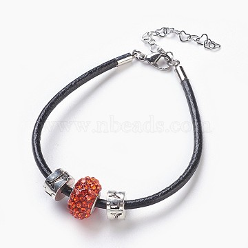 Leather Cord Bracelets, with  Resin Rhinestone European Beaded and Alloy European Style Clasps, Rondelle, Hyacinth, 7-5/8 inches(19.5cm), 3mm(BJEW-JB03886-04)