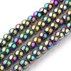 Transparent Glass Beads Strands, Round, Multi-color Plated, 4mm; Hole: 1mm, about 70pcs/strand, 11inches(X-EGLA-R047-4mm-02)