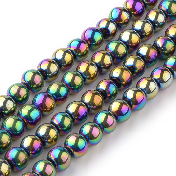 Transparent Glass Beads Strands, Round, Multi-color Plated, 4mm; Hole: 1mm, about 70pcs/strand, 11 inches(X-EGLA-R047-4mm-02)