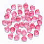 Transparent Spray Painted Glass Beads, Top Drilled Beads, with Glitter Powder, Scallop Shape, HotPink, 10x10.5x6mm, Hole: 1mm