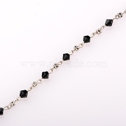 Handmade Bicone Glass Beads Chains for Necklaces Bracelets Making, with Tibetan Style Beads and Antique Silver Iron Eye Pin, Unwelded, Black, 39.3 inches(X-AJEW-JB00061-03)