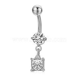 Piercing Jewelry, Environmental Brass Cubic Zirciona Navel Ring, Belly Rings, with Stainless Steel Findings, Square, Clear, 34mm, Pendant: 12x7.5mm; Pin: 1.6mm(AJEW-EE0006-62A-P)