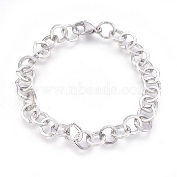 304 Stainless Steel Cable Chain Bracelets, with Lobster Claw Clasps, Stainless Steel Color, 8-3/8 inches(21.1cm), 9mm(BJEW-P237-22P)