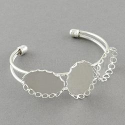 Латунные манжеты браслет материалы, браслет заготовки, серебряные, 60 mm ; лоток: 25x18 mm(MAK-S001-SZ007S)