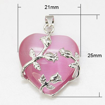 Valentine Idea for Her Gifts Cat Eye Pendants, with Brass Findings, Heart, Platinum Color, Pink, 25x21x9mm, Hole: 5x4mm(X-CE-H006-01)
