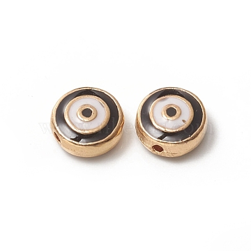 Golden Plated Alloy Beads, with Enamel, Flat Round, Black & White, 9x4.5mm, Hole: 1mm(ENAM-L030-L01-G)