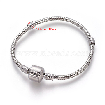 Brass European Style Bracelets Making, with Brass Clasps, Clasp without Logo, Platinum, 14cm(excluding the length of clasp); 3mm(PPJ004Y-14cm-P)