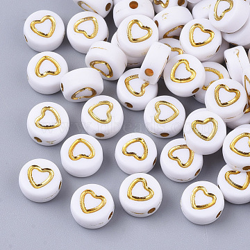 Plating Acrylic Beads, Metal Enlaced, Flat Round with Heart, Golden Plated, 7x4mm, Hole: 1.5mm(X-PACR-Q112-08)