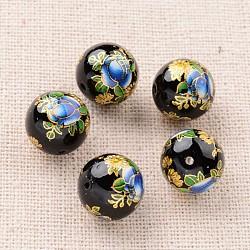 цветочная картина печатные стеклянные круглые бусины, черный, 12 mm, отверстия: 1 mm(GLAA-J087-12mm-A08)