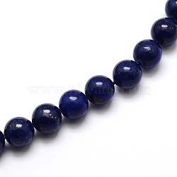 Dyed Natural Lapis Lazuli Round Beads Strands, Grade A, 10mm, Hole: 1mm; about 39pcs/strand, 15