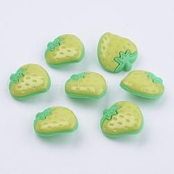 Boutons de fraises en acrylique, 1-trou, teint, greenyellow, 25x22x6mm, Trou: 3x2mm(X-BUTT-E021-B-06)