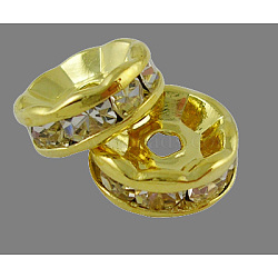 Brass Rhinestone Spacer Beads, Grade A, Straight Flange, Golden Metal Color, Rondelle, Crystal, 7x3.2mm, Hole: 1.2mm(X-RB-A014-Z7mm-01G)