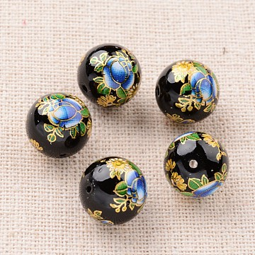 Flower Picture Printed Glass Round Beads, Black, 12mm, Hole: 1mm(GLAA-J087-12mm-A08)