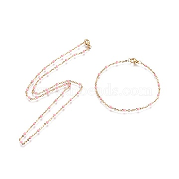 Vacuum Plating 304 Stainless Steel Jewelry Sets, Cable Chain Bracelet and Necklaces, with Enamel, Golden, Pink, 19.6 inches(50cm), 2mm, 8-1/8 inches(20.5cm), 2mm(SJEW-F205-A07)