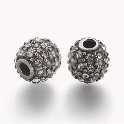 304 Stainless Steel Rhinestone Beads, Round, Crystal, 10x10mm, Hole: 3mm(STAS-A032-051P)