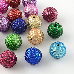 Transparent Resin Rhinestone Graduated Beads, with UV Plating Acrylic Round Beads Inside, Mixed Color, 14mm, Hole: 2~2.5mm(RESI-S314-12x14-M)