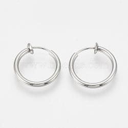 304 Créoles clipsables rétractables en acier inoxydable, pour oreilles non percées, avec des découvertes de printemps, couleur inox, 24.5x2 mm(STAS-S100-06)