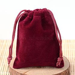 Pochettes rectangle en velours, sacs-cadeaux, DarkRed, 9x7 cm(TP-R002-7x9-02)