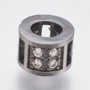 Brass Micro Pave Cubic Zirconia European Beads, Large Hole Beads, Lead Free & Cadmium Free, Column, Gunmetal, 8.5x5.5mm, Hole: 4mm(ZIRC-F083-098B-RS)