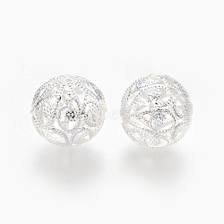 Iron Filigree Beads, Round, Silver Color Plated, 20x19mm, Hole: 1.6mm(KK-F762-12S)