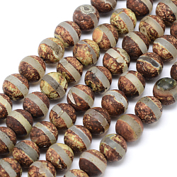 """Les accessoires de bijoux de bouddhisme tibétain de perles de dzi de style tibétain, agate tibétain naturel perles rondes, 10mm, trou: 1mm; environ 38 pcs/chapelet, 15.74""""(TDZI-L002-10mm-01)"""