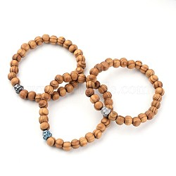 Buddha Head Wood Beaded Stretch Kids Bracelets, with Electroplated Non-Magnetic Hematite Beads, BurlyWood, 45mm(BJEW-JB02222)