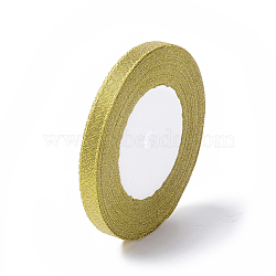Glitter Metallic Ribbon, Sparkle Ribbon, DIY Material for Organza Bow, Double Sided, Golden, Size: about 3/8inch(10mm) wide, 25yards/roll(22.86m/roll), 10rolls/group, 250yards/group(RS10mmY-G)