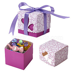 Gift Box, Candy Packaging Box, Wedding Party Gift Box, with Ribbon, Square, Purple, 5x5x5cm(CON-WH0064-C01)