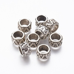 Alloy Beads, Large Hole Beads, Column, Antique Silver, 13x8mm, Hole: 8.5mm(PALLOY-A065-27AS)