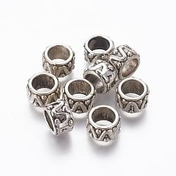 perles d'alliage, grandes perles de trou, colonne, argent antique, 13x8 mm, trou: 8.5 mm(PALLOY-A065-27AS)