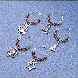 Бокал очарование для рождества, со стеклянными бусинами, латунь поиск и смешанные формы подвески сплава, разноцветные, 48~58 мм; 5 шт / комплект(AJEW-JO00137)