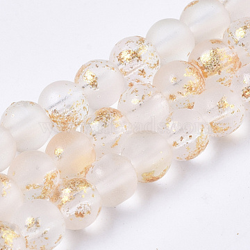 Frosted Spray Painted Glass Beads Strands, with Golden Foil, Round, PapayaWhip, 4~5mm, Hole: 0.9~1.2mm; about 95~103pcs/Strand, 13.78''~14.88''(35~37.8cm)(GLAA-N035-03A-C10)