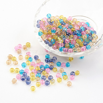 Baking Painted Crackle Glass Beads, Pastel Mix, Round, Mixed Color, 4~4.5x4mm, Hole: 1mm; about 400pcs/bag(DGLA-X0006-4mm-04)